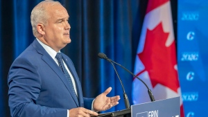 Conservative Party of Canada leadership candidate Erin O'Toole makes his opening statement at the start of the French Leadership Debate in Toronto on Wednesday, June 17, 2020. (THE CANADIAN PRESS/Frank Gunn)