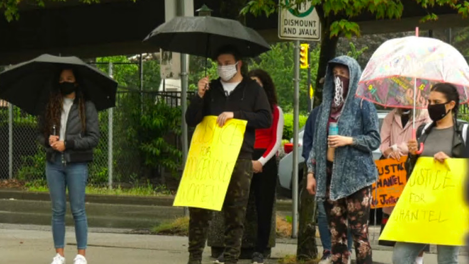 Organizers of a vigil held in memory of Chantel Moore in Vancouver on Saturday, June 20, 2020 repeated her family's call for an independent inquiry into her death. (CTV)