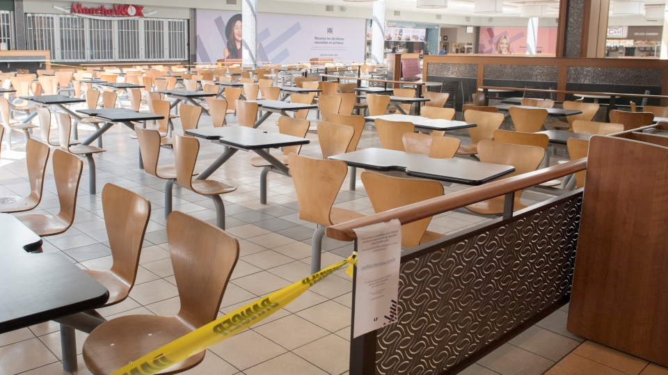 An empty food court is shown at a shopping mall in Montreal, Saturday, June 20, 2020, as the COVID-19 pandemic continues in Canada and around the world. THE CANADIAN PRESS/Graham Hughes