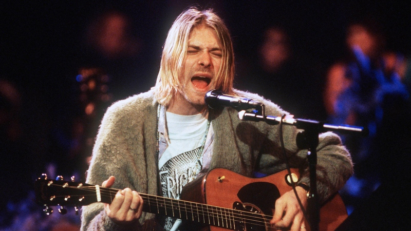 Kurt Cobain of Nirvana during the taping of MTV Unplugged at Sony Studios in New York City, Nov. 18, 1993. (Frank Micelotta/Getty Images/CNN)