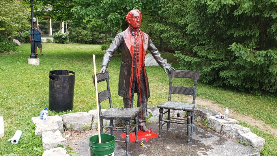 Sir John A. Macdonald statue in Baden, Ont. doused
