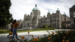 The demonstration is scheduled to begin at the B.C. legislature grounds at noon. The B.C. Legislature in Victoria, B.C. is shown on Wednesday, June 10, 2020. (THE CANADIAN PRESS/Chad Hipolito)