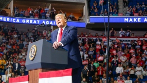 U,S, President Donald Trump speaks during his campaign rally at BOK Center in Tulsa, Okla., Saturday, June 20, 2020. (Ian Maule/Tulsa World via AP)