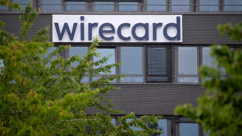 Wirecard logo at the headquarters of the payment service provider in Aschheim, Germany, on June 19, 2020. (Sven Hoppe/dpa via AP)
