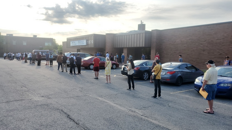 Dozens of people lined up early Monday morning for the reopening of the DriveTest centre on Walkley Road. (Ryan Lee/CTV Morning Live)