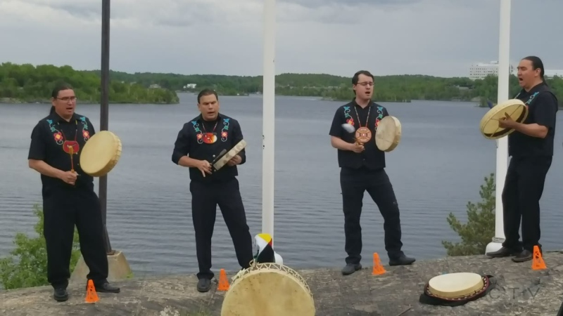 A Sudbury Indigenous drum group, Black Bull Moose Singers, performs near Bitimagamasing, the Anishinaabemowin name for Ramsey Lake. (Supplied)