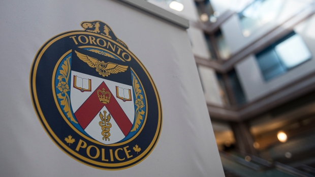 A logo at the Toronto Police Services headquarters, in Toronto, on Friday, August 9, 2019. THE CANADIAN PRESS/Christopher Katsarov