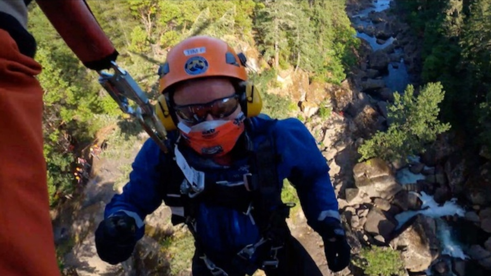 Members of the Vancouver Island Hoist Team were called to help rescue an injured hiker near the Nanaimo River: (Ascent Helicopters)