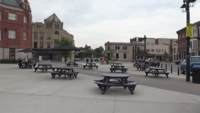 Picnic tables in a town square
