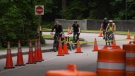 As Stanley Park reopened to vehicle traffic on June 22, 2020, one lane was blocked off for cyclists.