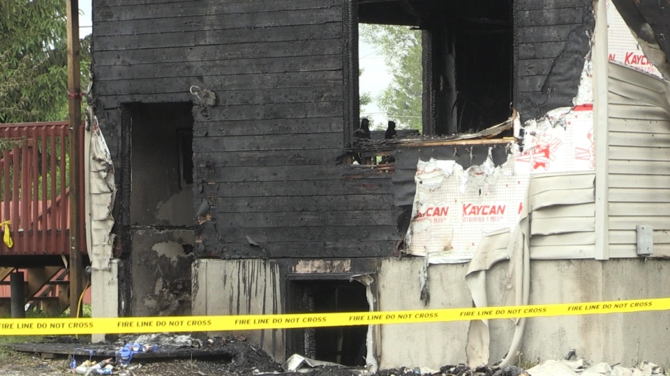Val Caron house fire scene cordoned off