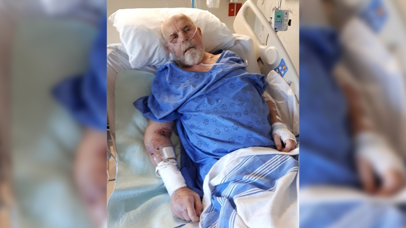 David Hillier of West Grey, Ont. is seen in a London hospital in this image released by Charney Law.