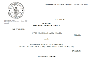 Hillier Notice of Action vs. West Grey Police