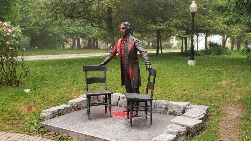 A statue of former Prime Minister Sir John A. MacDonald after red paint was poured on it. (Source: Ron Taves)