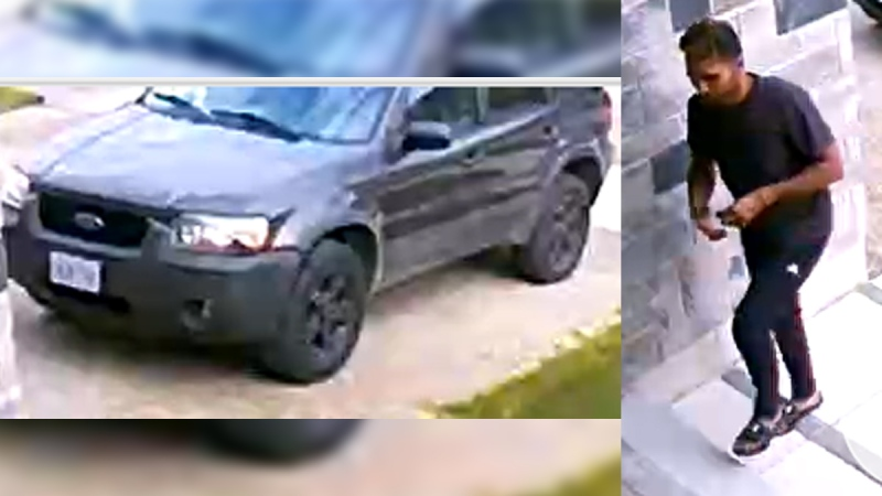 A vehicle and a man suspected of being involved in the theft of a package in Woodstock, Ont. are seen in this image released Tuesday, June 23, 2020. (Source: Woodstock Police Service)