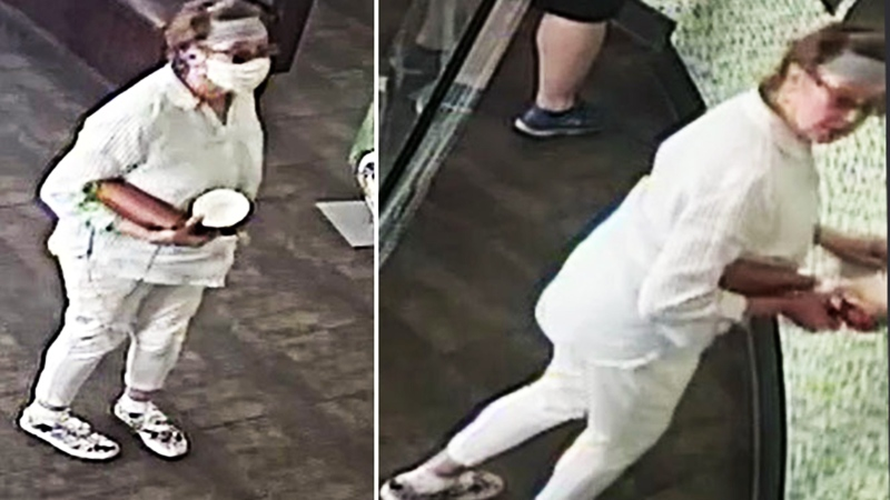 Police in San Jose, Calif. are looking to identify a woman who removed her face mask and coughed on a baby in an incident that was recorded by a surveillance camera. (San Jose Police Department)