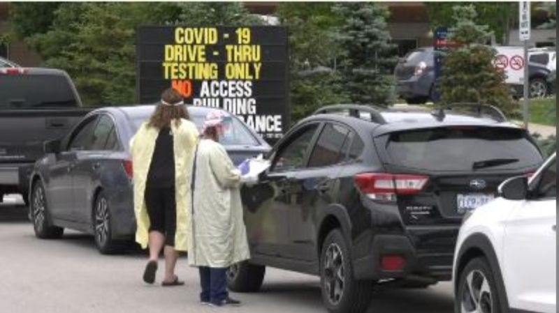 The COVID-19 drive-thru clinic at Royal Victoria Regional Health Centre in Barrie, Ont., on Tues., June 23, 2020. (Dave Erskine/CTV News)