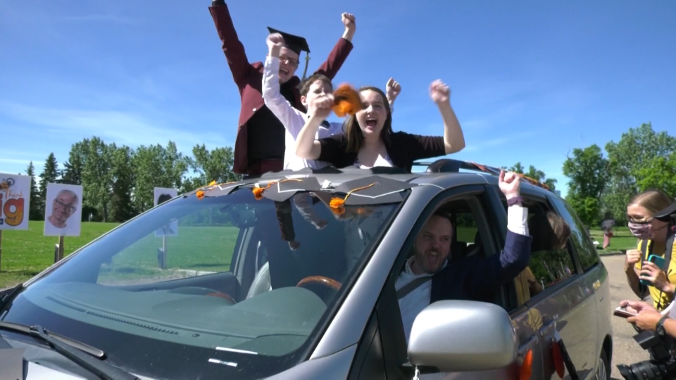 A drive-thru graduation ceremony was held for McNally High School students. Tuesday June 23, 2020 (CTV News Edmonton)