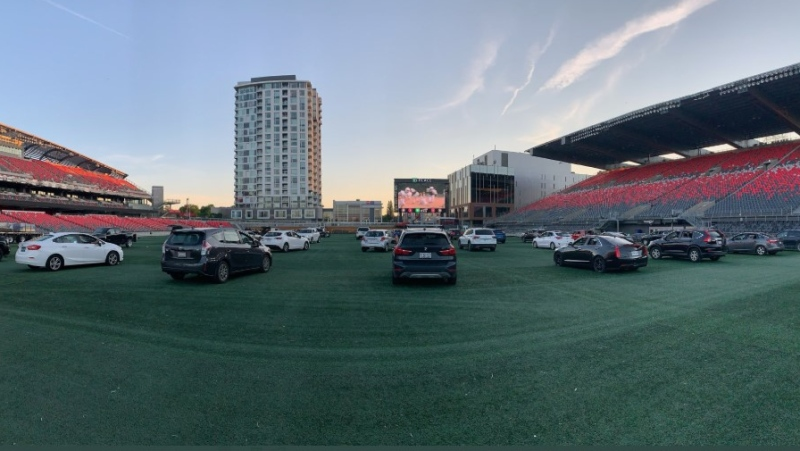 Drive-on movie nights at TD Place in Ottawa. (Photo courtesy: Twitter/TD_Place)