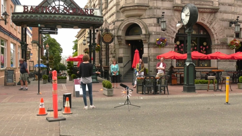Opera singer Abby Schuliger performs outside of Bastion Square in Victoria: June 23, 2020 (CTV News)