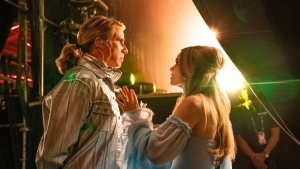 In this image released by Netflix, Will Ferrell, left, and Rachel McAdams appears in a scene from 'Eurovision Song Contest: The Story of Fire Saga.' (John Wilson / Netflix vi AP)