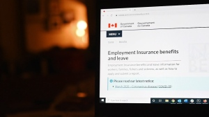 FILE - The employment insurance section of the Government of Canada website is shown on a laptop in Toronto on April 4, 2020. THE CANADIAN PRESS/Jesse Johnston