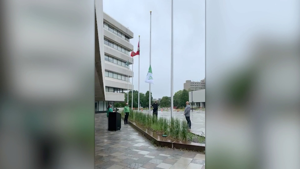 Sudbury Mayor Brian Bigger was joined by Joanne Gervais, executive director of the Association canadienne-francaise de l'Ontario to raise the Franco-Ontarian flag outside in Tom Davies Square on Wednesday in honour of St. Jean Baptiste Day. (Dana Roberts/CTV News)