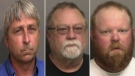 "William ""Roddie"" Bryan Jr., Greg McMichael and Travis McMichael are seen in their booking photos. (Glynn County Sheriff's Office via AP)"