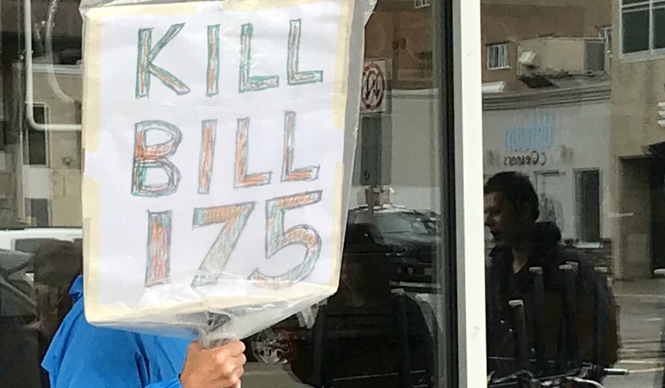 A dozen protesters braved the bleak weather on Wednesday to send a message to Premier Doug Ford: they want Bill 175 scrapped. (Ian Campbell/CTV News)