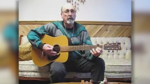 In honour of St. Jean Baptiste Day, Leo Bouchard from Ramore sings one en francais.