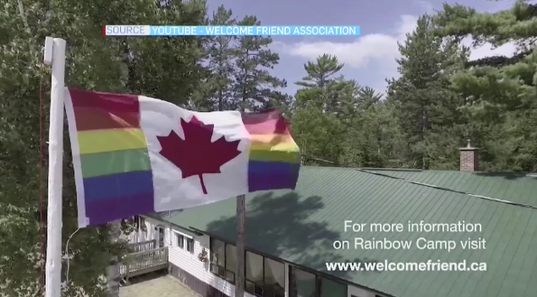 Flag at Rainbow Camp in Sault Ste. Marie