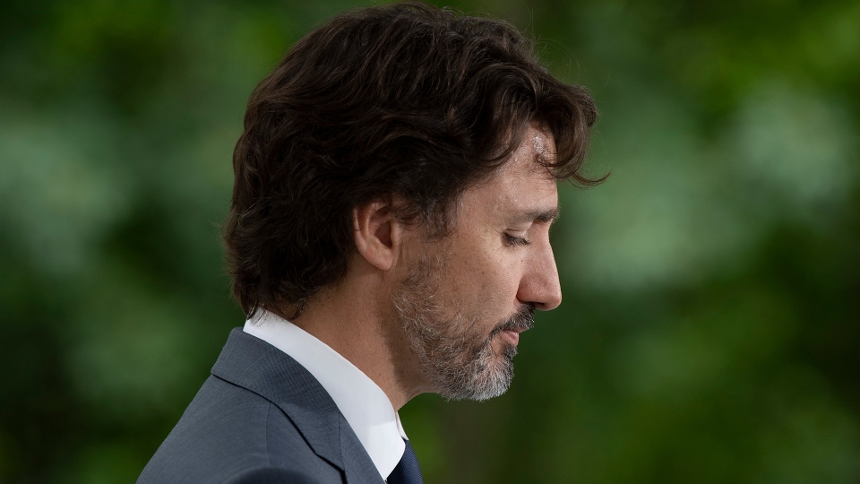 Prime Minister Justin Trudeau is seen during a news conference outside Rideau Cottage in Ottawa, Thursday, June 25, 2020. THE CANADIAN PRESS/Adrian Wyld
