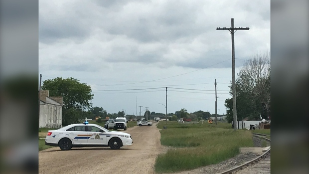 RCMP investigate a homicide in Portage la Prairie after human remains were discovered June 24, 2020 (CTV News Photo Josh Crabb)