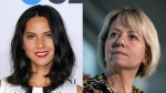 Olivia Munn (Image credit: Jordan Strauss / Invision) and Dr. Bonnie Henry (Image credit: Darryl Dyck / THE CANADIAN PRESS) are teaming up for the #PasstheMic campaign on COVID-19 education.