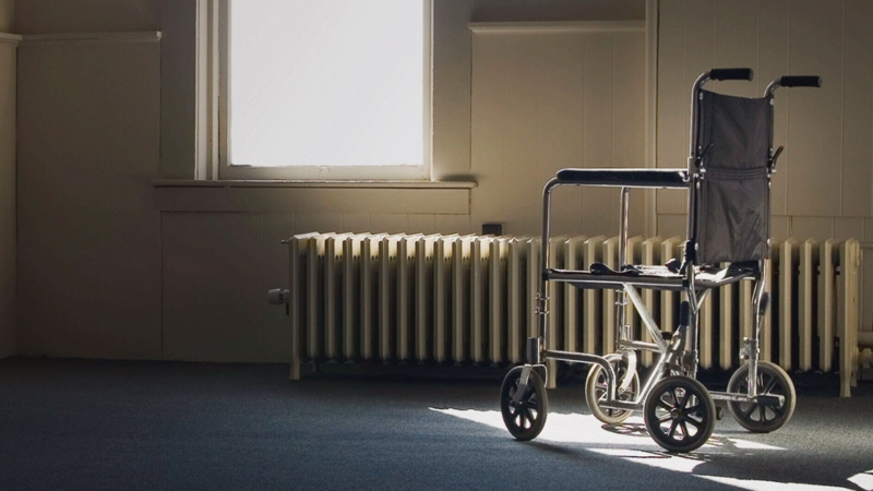 A wheel chair is pictured in a long-term care home. (File photo)