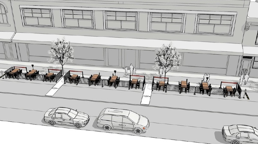 A rendering of street patios. (Courtesy City of Windsor)