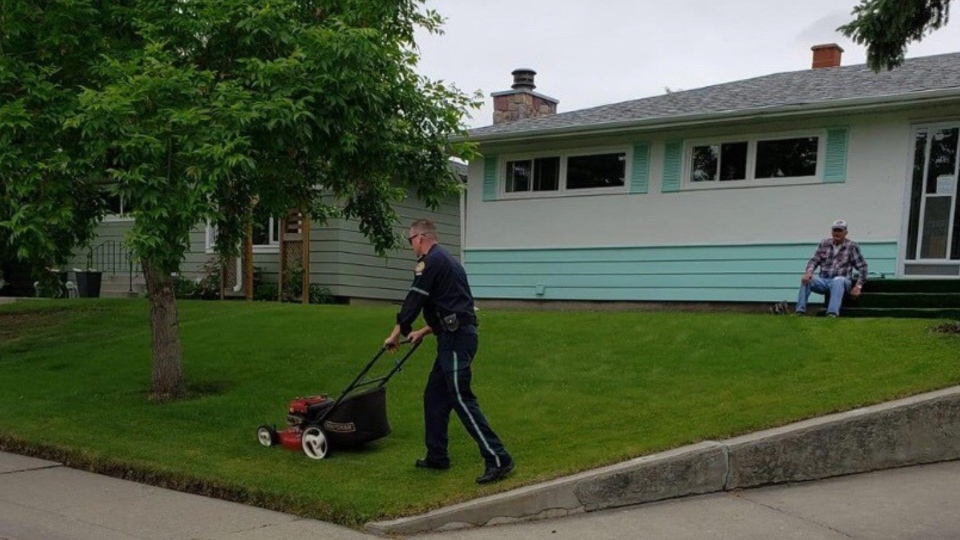 Calgary, senior, paramedic, lawn mower, mowing,