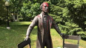 The Sir John A. Macdonald statue was doused in red paint again on June 26, 2020 (Dave Pettitt / CTV News Kitchener)