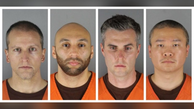 This combination of photos provided by the Hennepin County Sheriff's Office in Minnesota on Wednesday, June 3, 2020, shows Derek Chauvin, from left, J. Alexander Kueng, Thomas Lane and Tou Thao. (Hennepin County Sheriff's Office via AP)