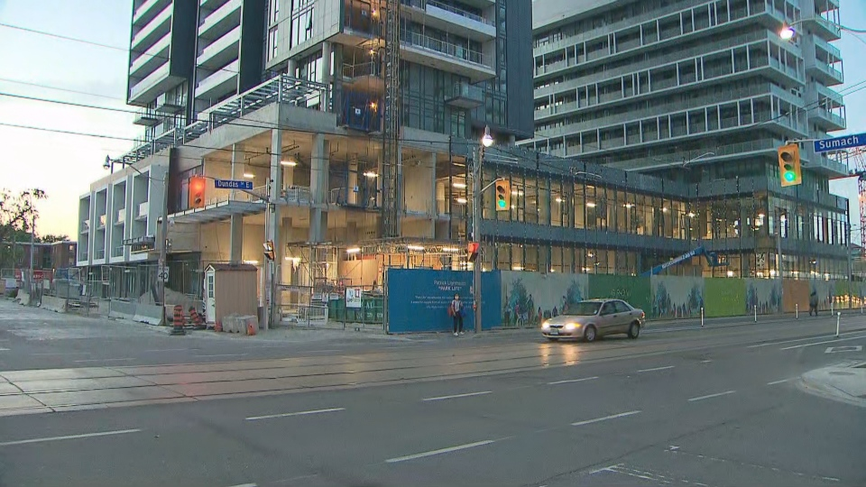 A noose was found at a construction site in the area of Dundas and Sumach streets.