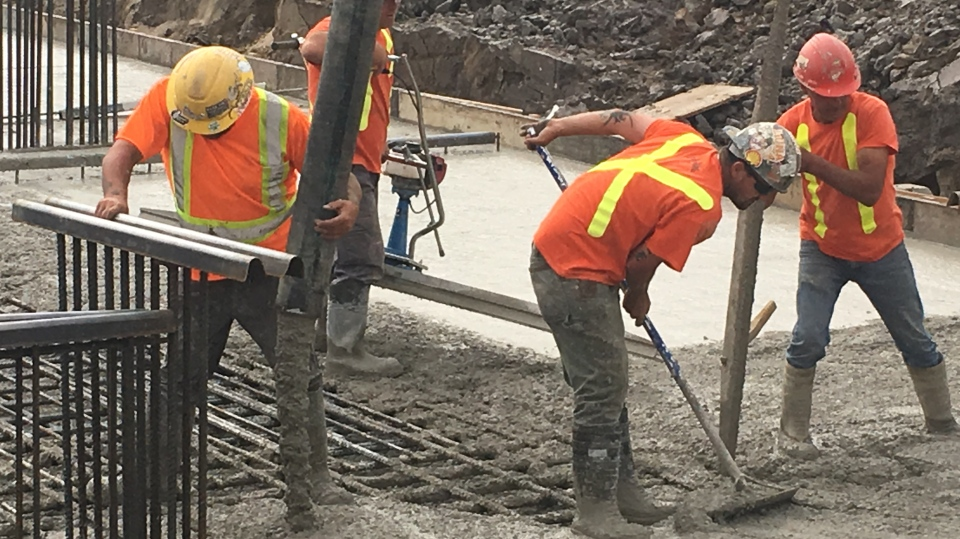 Concrete foundation  at the former Alma College site (Brent Lale / CTV News)
