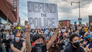 Thousands protesters continued to defy an 8 p.m. city-wide curfew across New York City, protesting the death of George Floyd, police brutality, racism and marched through the city remaining predominantly peaceful. (Michael Nigro/Pacific Press/LightRocket/Getty Images)