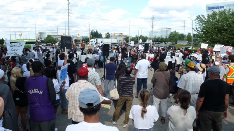 Hundreds gathered outside Peel police headquarters demanding justice for Ejaz Choudry who was fatally shot by Peel police last week. (Ricardo Alfonso)