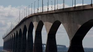 "The Confederation Bridge is viewed from Borden-Carleton, P.E.I. on Friday, Sept. 27, 2013. Canada's smallest province, which once branded itself the ""gentle island,"" is seeing some not-so-gentle attitudes emerging toward people perceived to be from other provinces, a phenomenon Prince Edward Island Premier Dennis King says is likely driven by COVID-19 fears. (THE CANADIAN PRESS/Andrew Vaughan)"