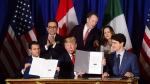 Prime Minister Justin Trudeau, right to left, Foreign Affairs Minister Chrystia Freeland, United States Trade Representative Robert Lighthizer, President of the United States Donald Trump, Mexico's Secretary of Economy Ildefonso Guajardo Villarreal, and President of Mexico Enrique Pena Nieto participate in a signing ceremony for the new United States-Mexico-Canada Agreement in Buenos Aires, Argentina, Friday, Nov. 30, 2018. THE CANADIAN PRESS/Sean Kilpatrick