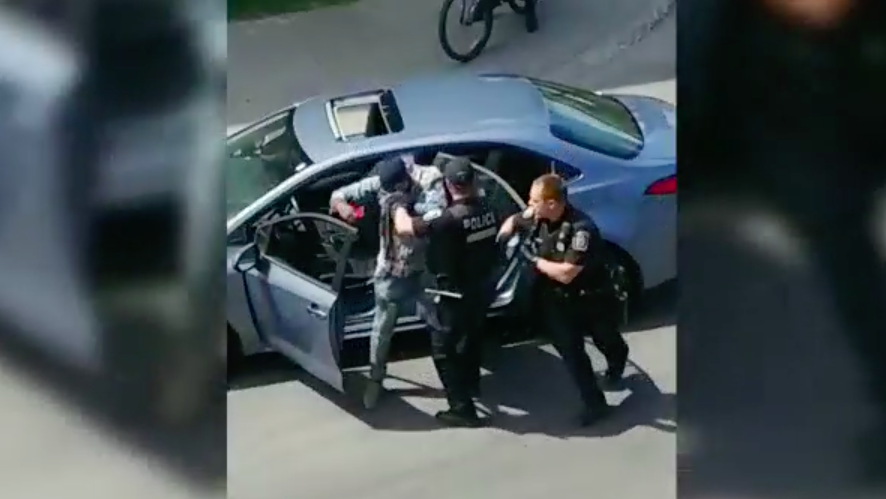 A video shows Lamine Sale Nkouendji's treatment by Montreal police after a traffic stop in Outremont. SOURCE: Miriam Vaillancourt