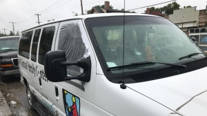 The windshield and passenger window on a van owned by the North Central Family Centre were broken by vandals overnight Saturday. (Stefanie Davis/CTV News Regina)