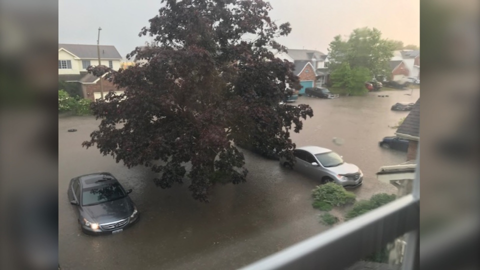 A Saturday evening thunderstorm flooded Lombardy Street in Kingston. (Photo courtesy: Catherine Simard)