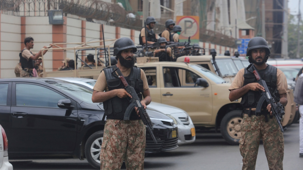 At the Stock Exchange Building in Karachi