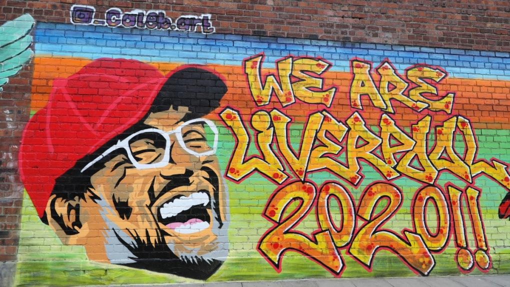 Mural featuring Liverpool manager Jurgen Klopp